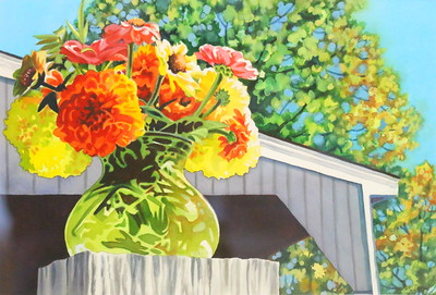 IMG_7956 Farm Zinnias,,by margaret Dwyer,,watercolor