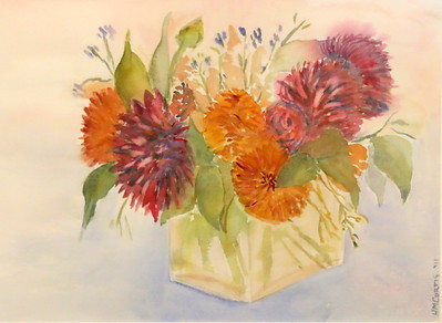 IMG_8055 Red Flowers,,by Helen Curtis,,watercolor