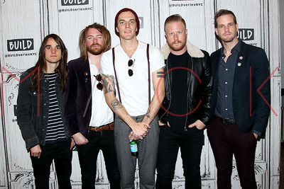 """NEW YORK, NY - APRIL 27:  Build Series Presents band members of The Maine discussing their new album """"Lovely Little Lonely"""" at Build Studio."""