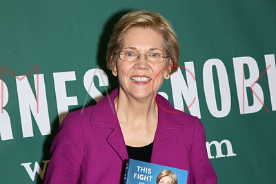 """NEW YORK, NY - APRIL 18:  Elizabeth Warren Signs Copies Of Her New Book """"This Fight Is Our Fight"""" at Barnes & Noble Union Square."""