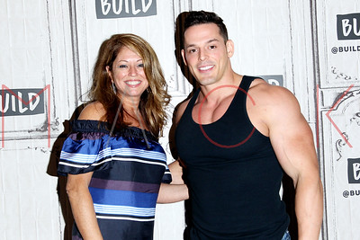 """NEW YORK, NY - JULY 07:  Creator and Executive Producer Sonia Blangiardo and actor Jessie """"Mr. Pec-Tacular"""" Godderz visit Build to discuss the new show """"Tainted Dreams"""" at Build Studio."""