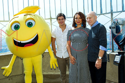"""NEW YORK, NY - JULY 17:  The Cast From """"The Emoji Movie"""" Celebrates World Emoji Day At Empire State Building."""