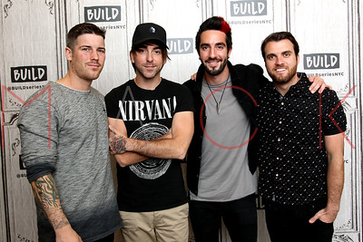 """NEW YORK, NY - MAY 03:  Build Presents Zack Merrick, Alex Gaskarth, Jack Barakat and Rian Dawson of All Time Low Discussing Their New Album """"Last Young Renegade"""" at Build Studio."""