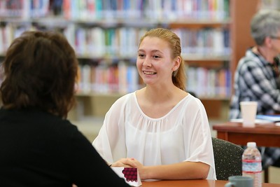 Whitney High School senior Trinity Downs answers a question during her mock interview.