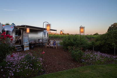 On hand at the Silver Oak private party was one of the Airstream trailers the winner of Live Lot # 34 will stay in if they're the winner of this joint lot glamping trip.  Photo ©2017 by Jason Tinacci / Napa Valley Vintners