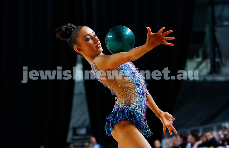 3-6-17. 2017 Australian Gymnastics Championships. Hisense Arena. Junior International Rythmic Gymnastics, Alexandra Kiroi, ball. Photo: Peter Haskin