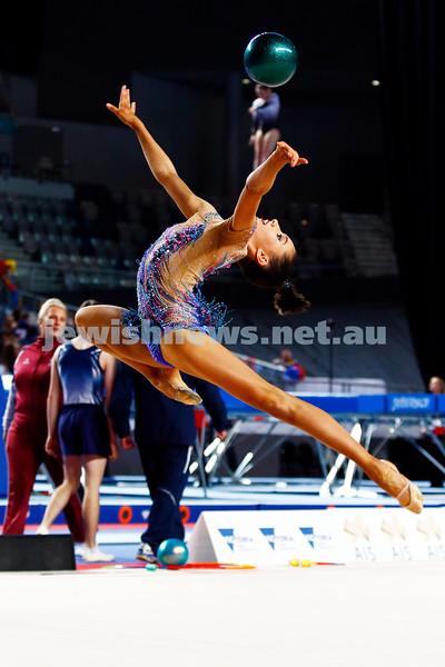 3-6-17. 2017 Australian Gymnastics Championships. Hisense Arena. Junior International Rythmic Gymnastics, Alexandra Kiroi, ball. Photo: Peter Haskin