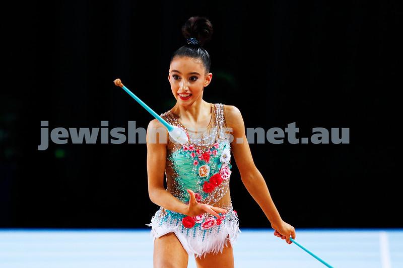 2-6-17. 2017 Australian Gymnastics Championships. Hisense Arena. Junior International Rythmic Gymnastics, Alexandra Kiroi, clubs. Photo: Peter Haskin