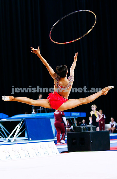 3-6-17. 2017 Australian Gymnastics Championships. Hisense Arena. Junior International Rythmic Gymnastics, Alexandra Kiroi, hoop. Photo: Peter Haskin