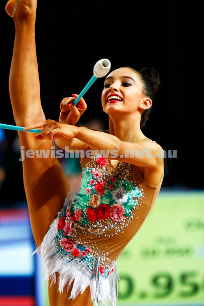 2-6-17. 2017 Australian Gymnastics Championships. Hisense Arena. Junior International Rythmic Gymnastics, Alexandra Kiroi, clubs. Photo: Peter Haskin