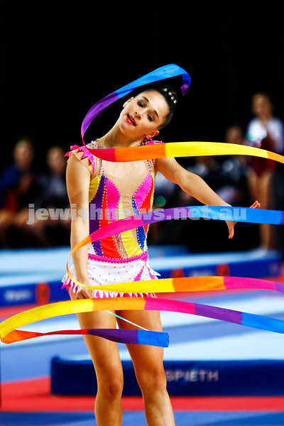 2-6-17. 2017 Australian Gymnastics Championships. Hisense Arena. Junior International Rythmic Gymnastics, Rashelle Feldman, ribbon. Photo: Peter Haskin
