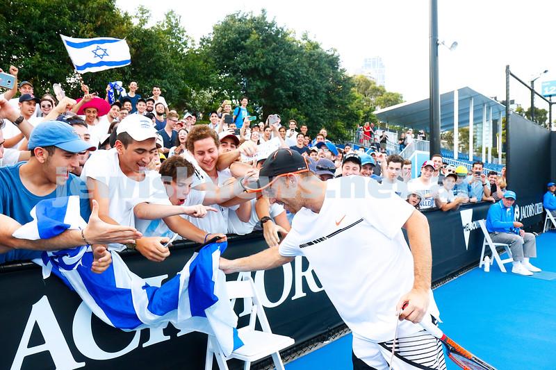 16-1-17. Australian Open. Round 1 Mens Singles. Dudi Sela (ISR) def Marcel Granollers (ESP) 5-7 6-3 6-2 6-0. The Dudi fans. Photo: Peter Haskin