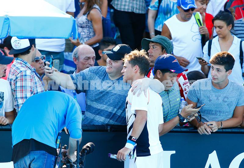 16-1-17. Australian Open. Round 1 Mens Singles. Diego Schwarzman (Arg) def Pablo Cuevas ( URU) [22] 6-3 6-3 6-0. Photo: Peter Haskin