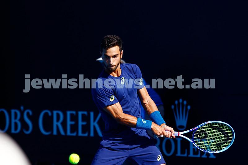 16-1-17. Australian Open. Round 1 Mens Singles. Noah Rubin (USA) def  Bjorn Fratangelo (USA) 6-7(4) 7-5 3-6 6-2 6-2. Photo: Peter Haskin