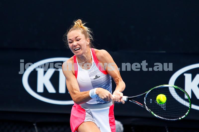 13-1-17. Australian Open qualifying round 2. Israel's Julia Glushko went down in three sets to Julia Boserup 2-6 6-3 2-6. Photo: Peter Haskin