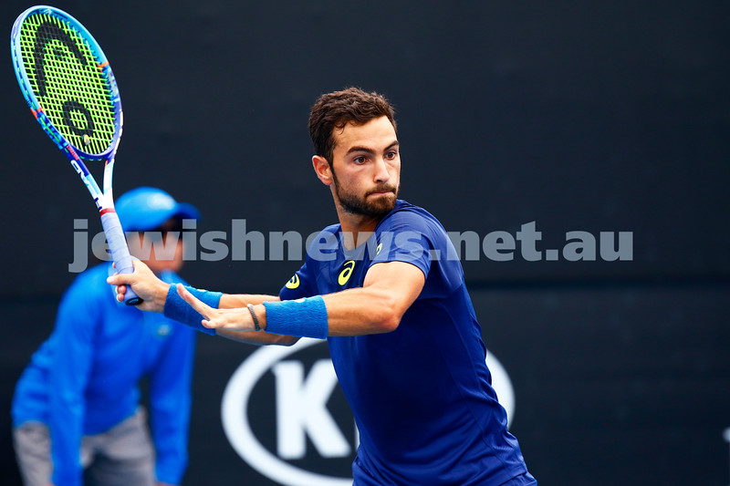 13-1-17. Australian Open qualifying round 2. Noah Rubin defeated Spaniard Roberto Carbelles Baena, seeded 32 for the qualifiers, in three sets 6-4 3-6 6-2. Photo: Peter Haskin