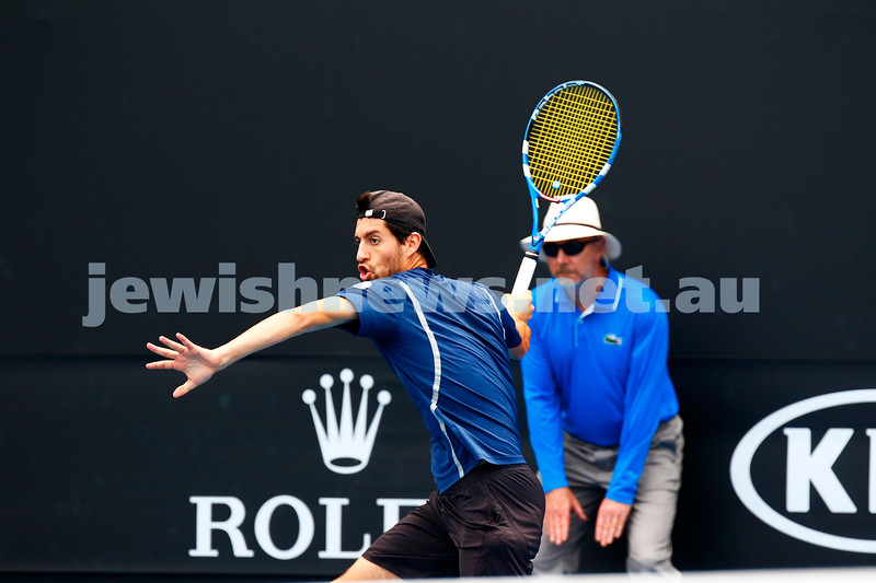 11-1-17. Israel's Amir Weintraub went down in straight sets 2-6 2-6 to Ivan Dodig from Croatia in the first round of qualifying for the Australian Open. Photo: Peter Haskin