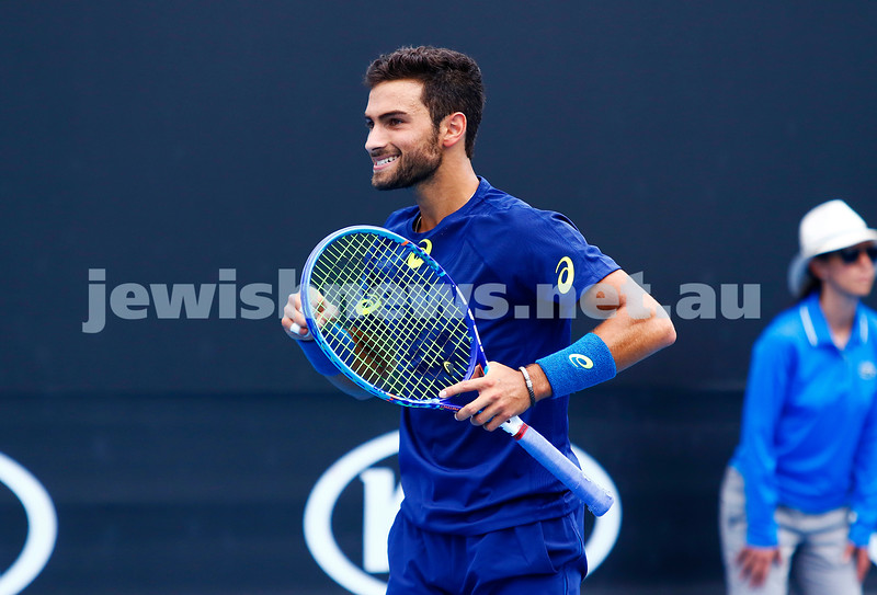 14-1-17. Aus Open qualifying round 3. Noah Rubin def Evgeny Donskoy 6-2- 6-4 to move into the main draw. Photo: Peter Haskin