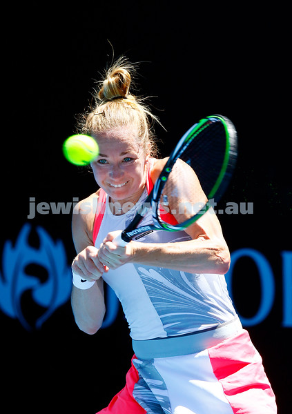 12-1-17. Israel's Julia Glushko advanced to the second round of the Australian Open qualifying with a straight sets win over Tereza Martincova from the Czech Republic 6-2 7-6. Photo: Peter Haskin