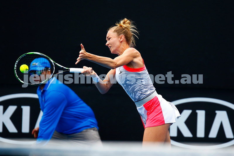13-1-17. Australian Open qualifying round 2. Israel's Julia Glushko went down in three sets to Julia Boserup 2-6 6-3 2-6. Photo: Peter Haskin