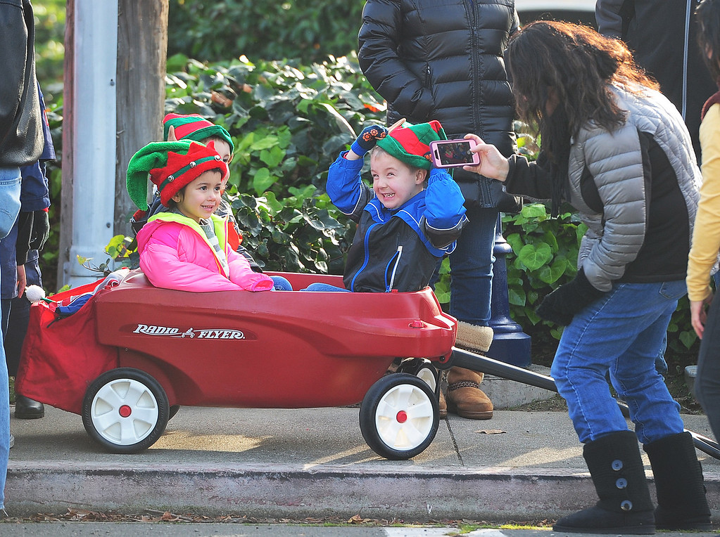 . BENICIA, CA- DEC. 9, Kids pose for a photo before the start of the Benicia Holiday Parade down First Street on Saturday. (CHRIS RILEY/Times-Herald)