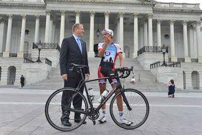 Raising funds and awareness for Project Hero, Steven Blackwell, son of San Jose fire fighter David Blackwell, completed a 4,124-mile bike ride from Florence, Ore., to the steps of the U.S. Capitol in Washington, D.C., July 17, 2017. Project Hero, a 501(c)3 non-profit organization, is dedicated to helping Veterans and First Responders affected by PTSD, TBI, illness and injury achieve rehabilitation, recovery and resilience in their daily lives.  Photo by Tiffini Skuce