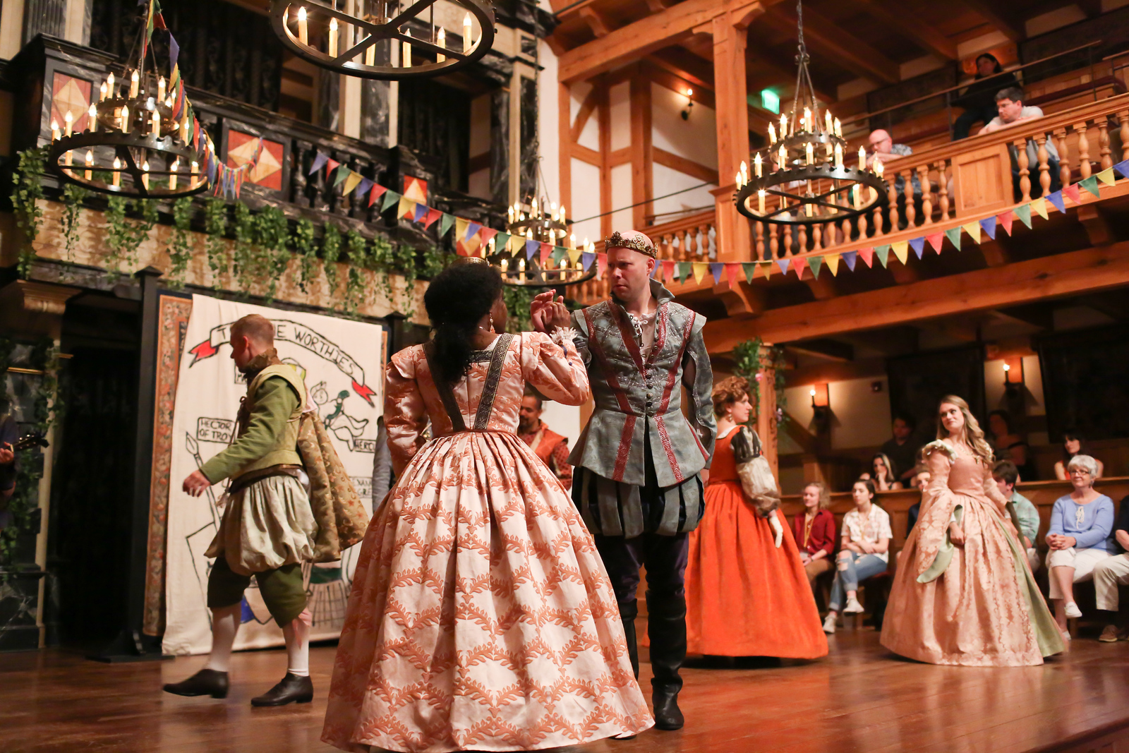 Shunté Lofton as Princess of France, Greg Brostrom as King of Navarre and the cast of LOVE'S LABOUR'S LOST. Photo by Lindsey Walters.