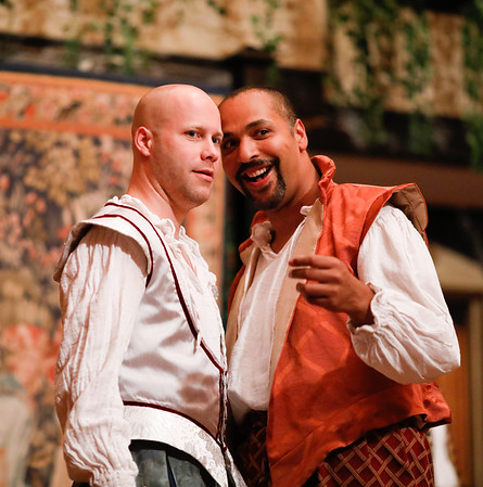 Greg Brostrom as King of Navarre and René Thornton, Jr. as Berowne in LOVE'S LABOUR'S LOST. Photo by Lindsey Walters.