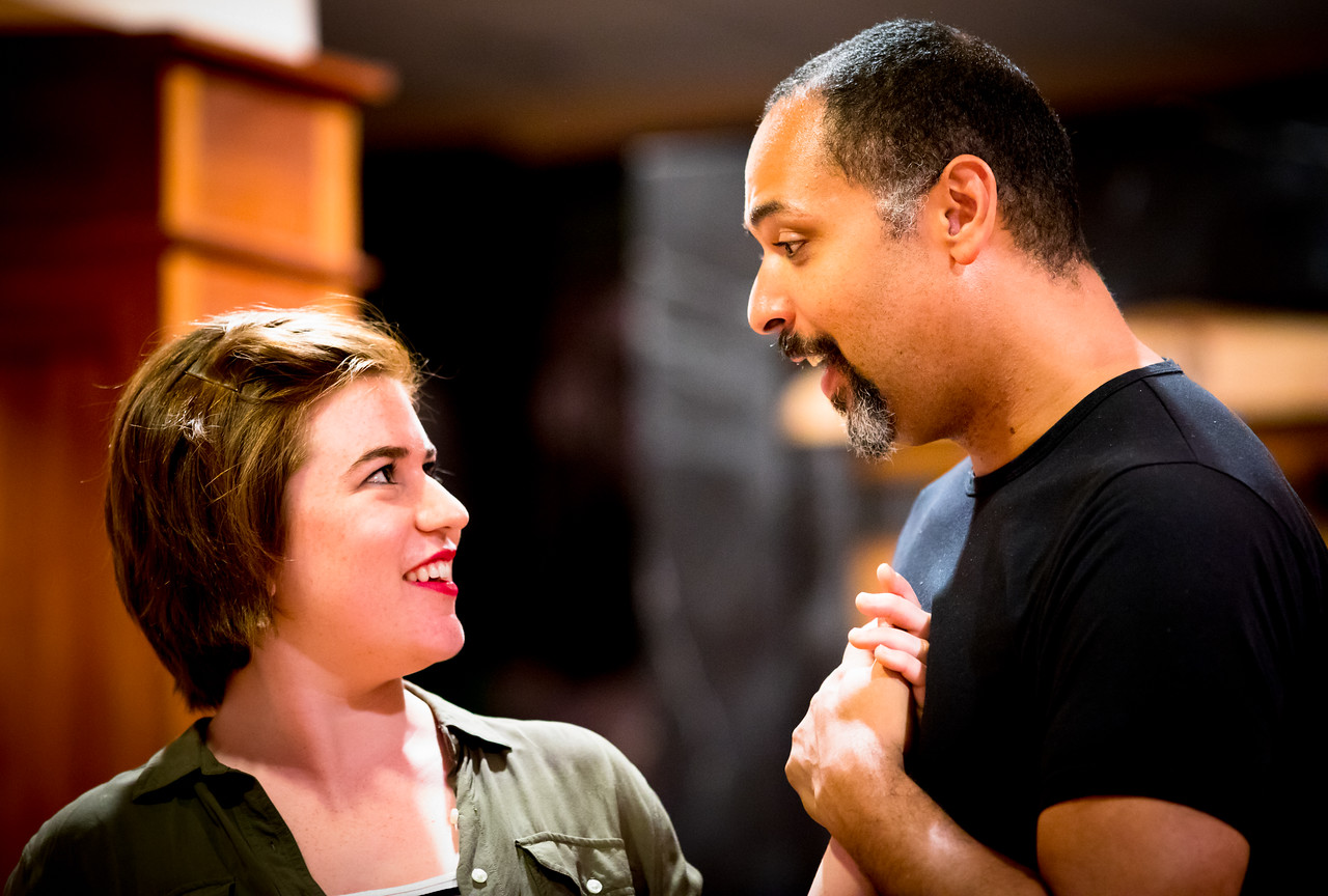 Allie Babich (Rosaline) and René Thornton, Jr. (Berowne) in rehearsal for LOVE'S LABOUR'S LOST. Photo by Jay McClure.