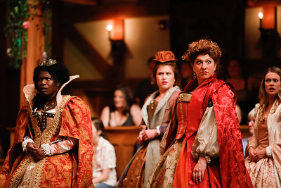 Shunté Lofton as Princess of France, Allie Babich as Rosaline, Allison Glenzer as Katherine, and Lauren Ballard as Maria in LOVE'S LABOUR'S LOST. Photo by Lindsey Walters.