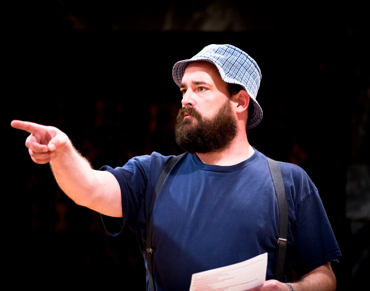 David Anthony Lewis (Costard) in rehearsal for LOVE'S LABOUR'S LOST. Photo by Jay McClure.