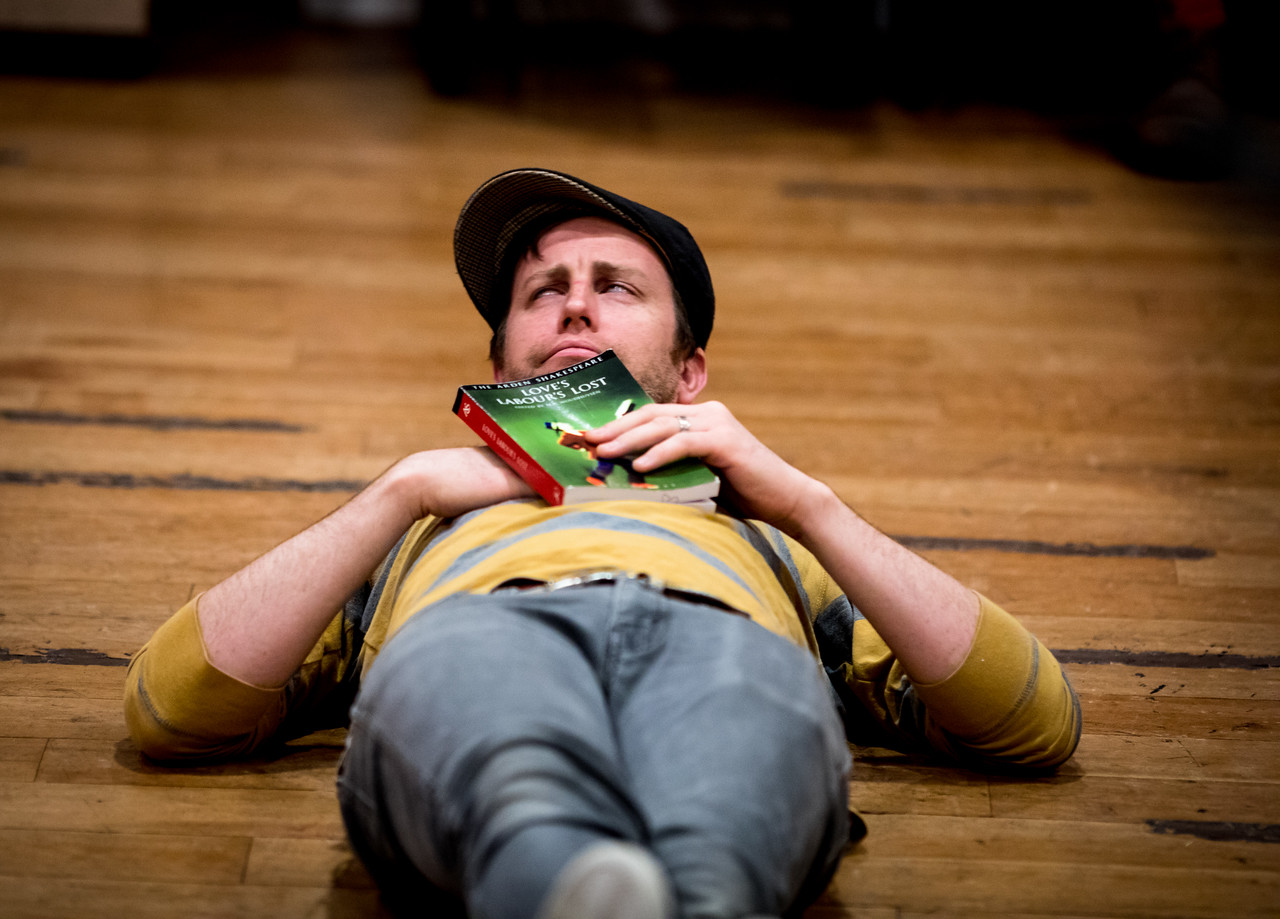 Chris Johnston (Don Armado) in rehearsal for LOVE'S LABOUR'S LOST. Photo by Jay McClure.
