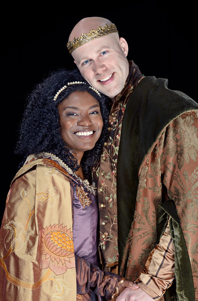 Shunté Lofton as the Princess of France and Greg Brostrom as the King of Navarre in LOVE'S LABOUR'S LOST.  Photo by Michael Bailey.