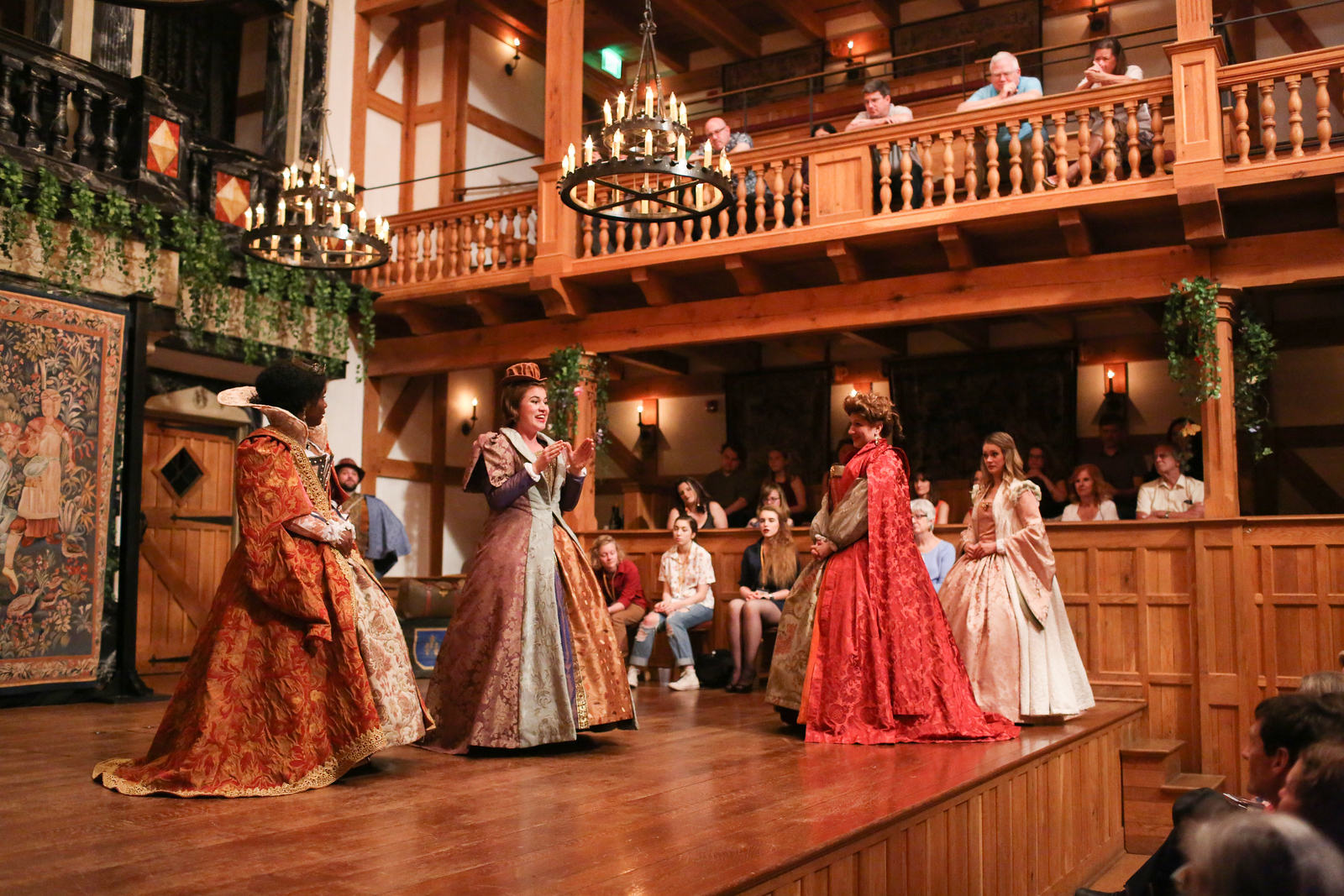Shunté Lofton as Princess of France, Allie Babich as Rosaline, Allison Glenzer as Katherine, Lauren Ballard as Maria, and David F. Meldman as French Lord in LOVE'S LABOUR'S LOST. Photo by Lindsey Walters.