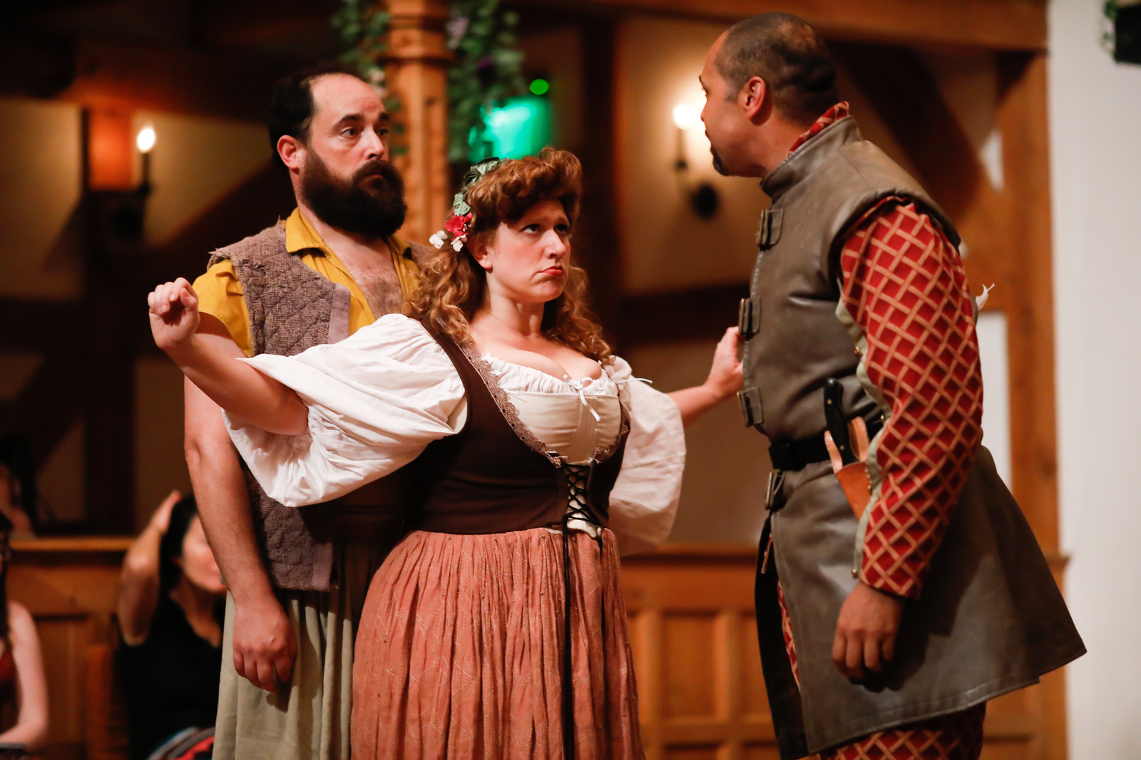 David Anthony Lewis as Costard, Allison Glenzer as Jaquenetta, and René Thornton, Jr. as Berowne in LOVE'S LABOUR'S LOST. Photo by Lindsey Walters.