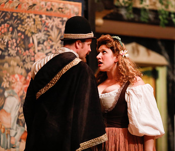 Chris Johnston as Don Armado and Allison Glenzer as Jaquenetta in LOVE'S LABOUR'S LOST. Photo by Lindsey Walters.