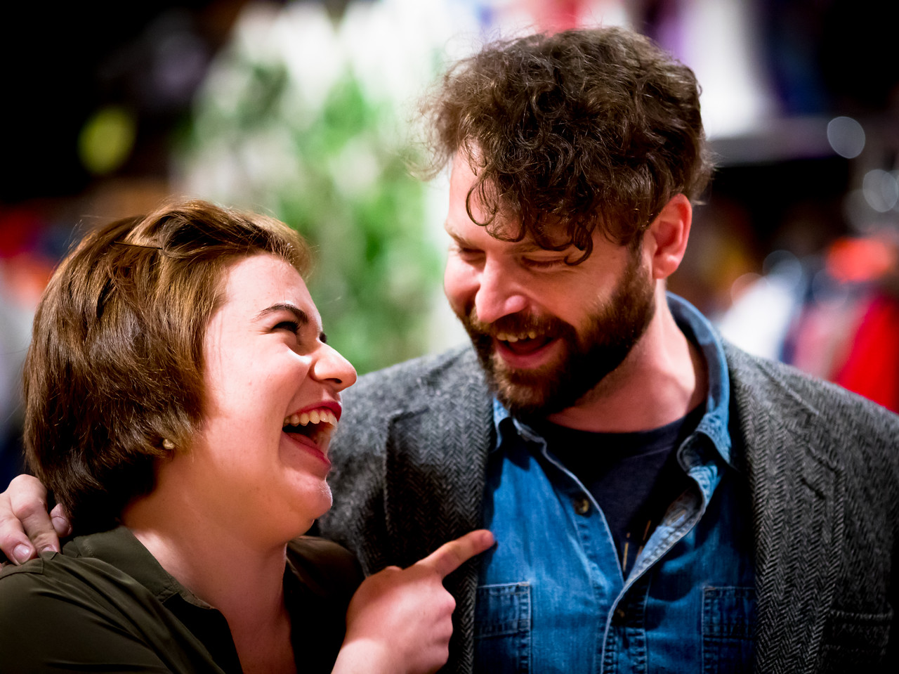 Allie Babich (Nathaniel) and Josh Innerst (Holofernes) in rehearsal for LOVE'S LABOUR'S LOST. Photo by Jay McClure.