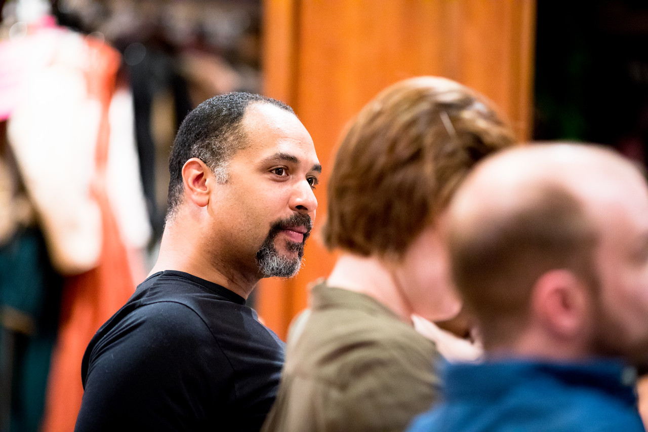 René Thornton, Jr. (Berowne), Allie Babich (Rosaline), and Tim Sailer (Boyet)  in rehearsal for LOVE'S LABOUR'S LOST. Photo by Jay McClure.
