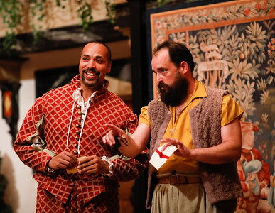 René Thornton, Jr. as Berowne and David Anthony Lewis as Costard in LOVE'S LABOUR'S LOST. Photo by Lindsey Walters.