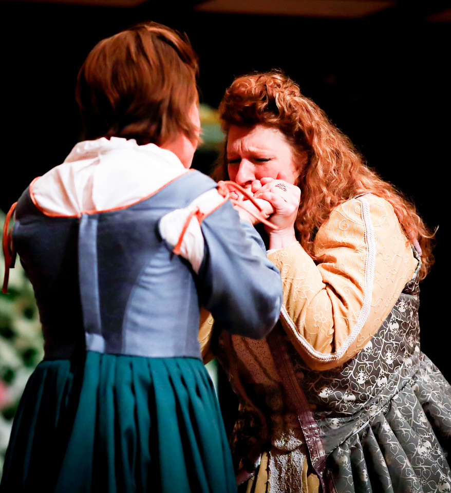 Allison Glenzer as Beatrice and Allie Babich as Ursula in MUCH ADO ABOUT NOTHING. Photo by Lindsey Walters.