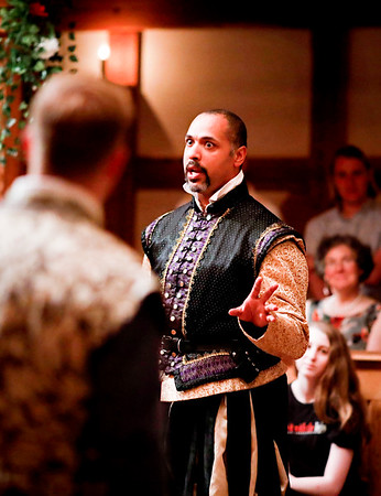 René Thornton, Jr. as Don Pedro and Benjamin Reed as Claudio in MUCH ADO ABOUT NOTHING. Photo by Lindsey Walters.