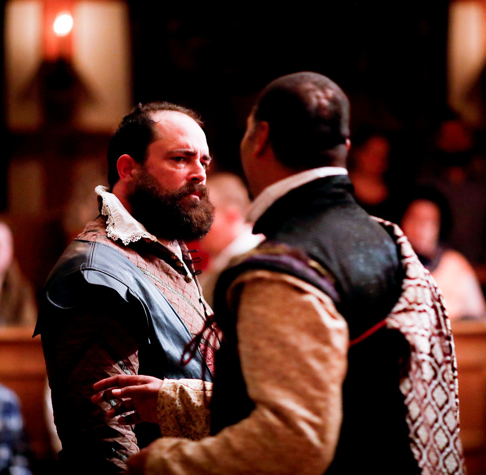 David Anthony Lewis as Benedick and René Thornton, Jr. as Don Pedro in MUCH ADO ABOUT NOTHING. Photo by Lindsey Walters.