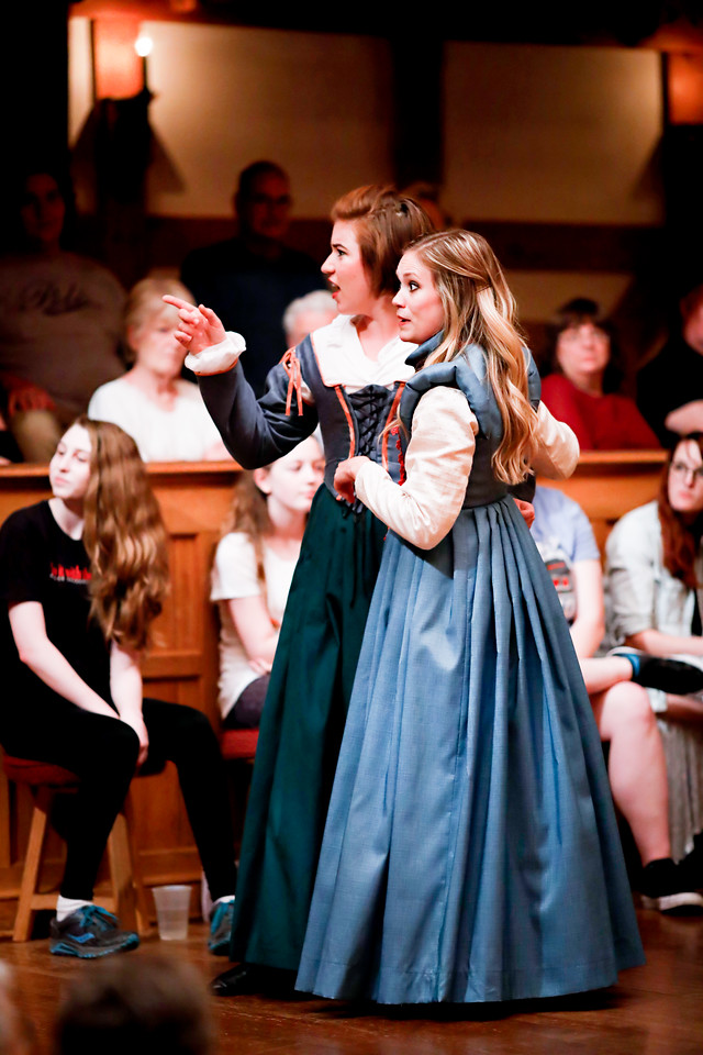 Allie Babich as Ursula and Lauren Ballard as Hero in MUCH ADO ABOUT NOTHING. Photo by Lindsey Walters.