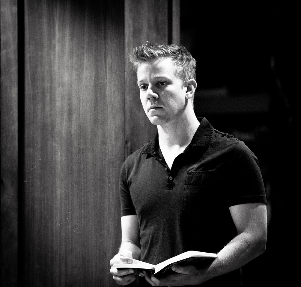 Benjamin Reed (Claudio) in rehearsal for MUCH ADO ABOUT NOTHING.  Photo by Jay McClure.
