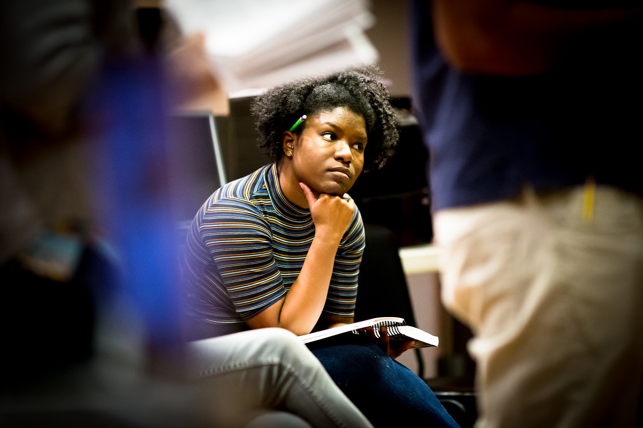 Shunté Lofton (Margaret) in rehearsal for MUCH ADO ABOUT NOTHING.  Photo by Jay McClure.