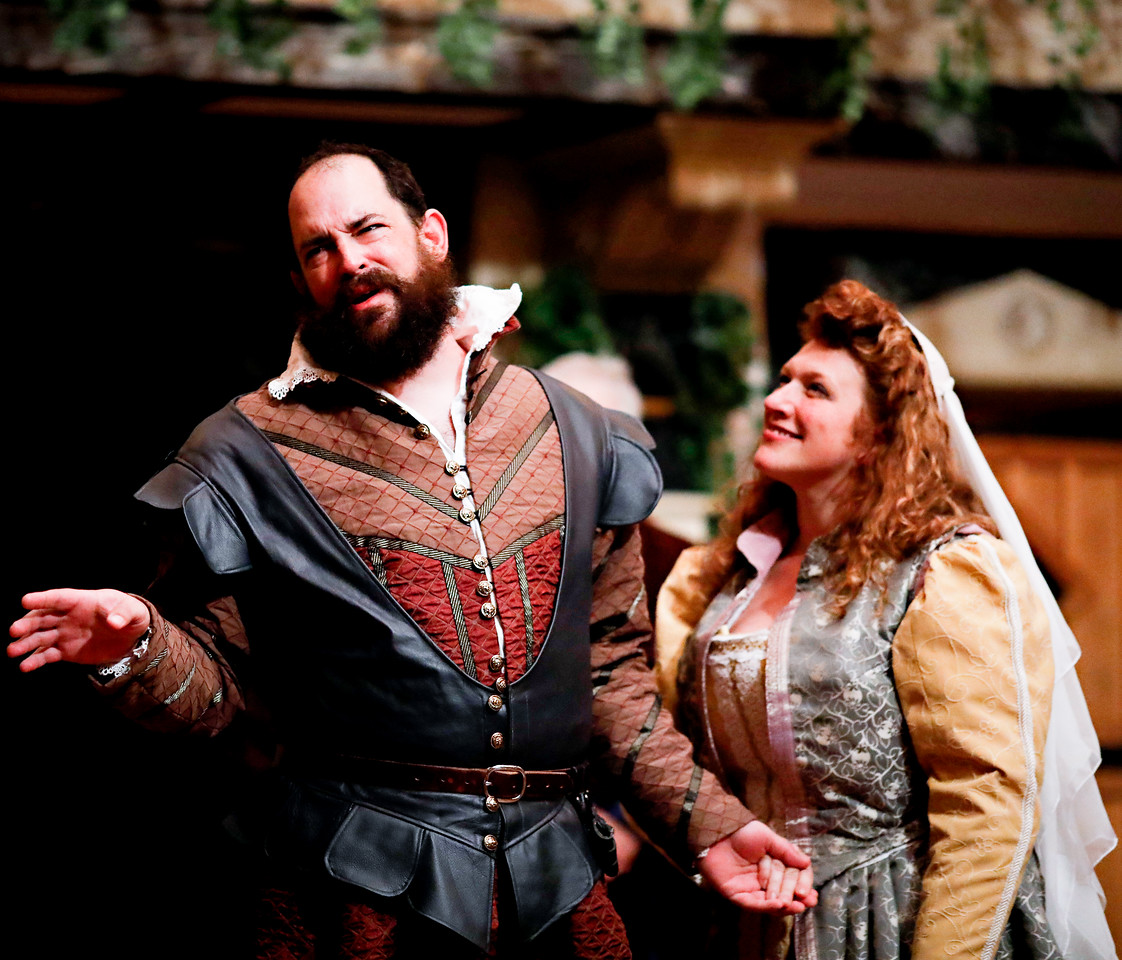 David Anthony Lewis as Benedick and Allison Glenzer as Beatrice in MUCH ADO ABOUT NOTHING. Photo by Lindsey Walters.