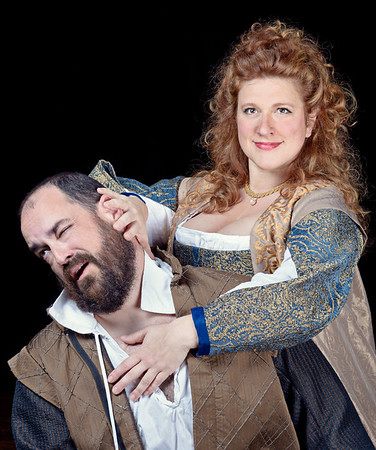 David Anthony Lewis as Benedick and Allison Glenzer as Beatrice in MUCH ADO ABOUT NOTHING.  Photo by Michael Bailey.
