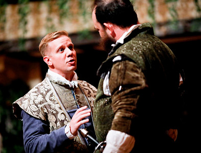 Benjamin Reed as Claudio and David Anthony Lewis as Benedick in MUCH ADO ABOUT NOTHING. Photo by Lindsey Walters.