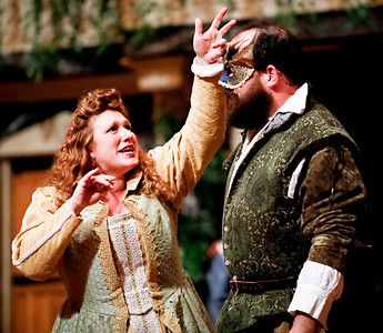 Allison Glenzer as Beatrice and David Anthony Lewis as Benedick in MUCH ADO ABOUT NOTHING. Photo by Lindsey Walters.