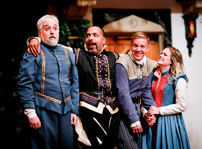 Christopher Seiler as Leonato, René Thornton, Jr. as Don Pedro, Benjamin Reed as Claudio, and Lauren Ballard as Hero in MUCH ADO ABOUT NOTHING. Photo by Lindsey Walters.